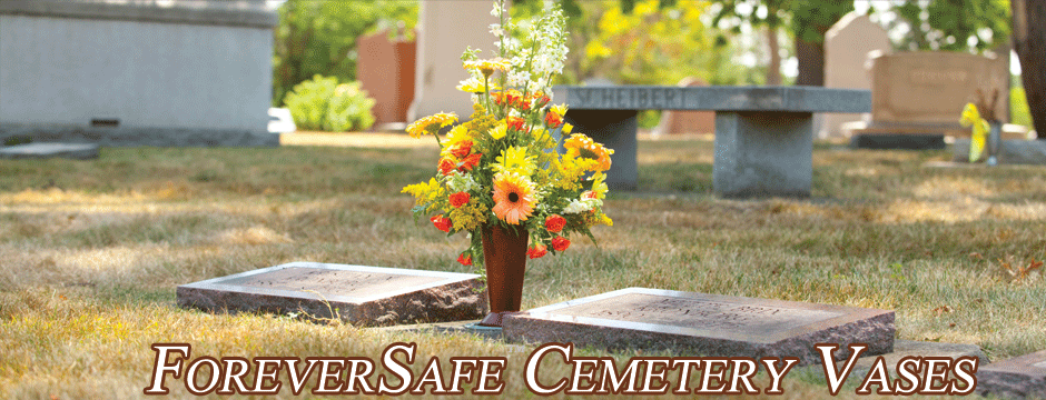 ForeverSafe Cemetery Vases, Cemetery Flower Vases, Headstone Memorial Vase, Replacement Bronze Vase, Theft Deterrent Flower Vase