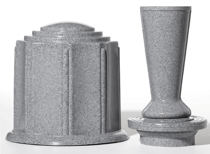 Grey Granite ForeverSafe™ Urn & Cemetery Vase Flower Set