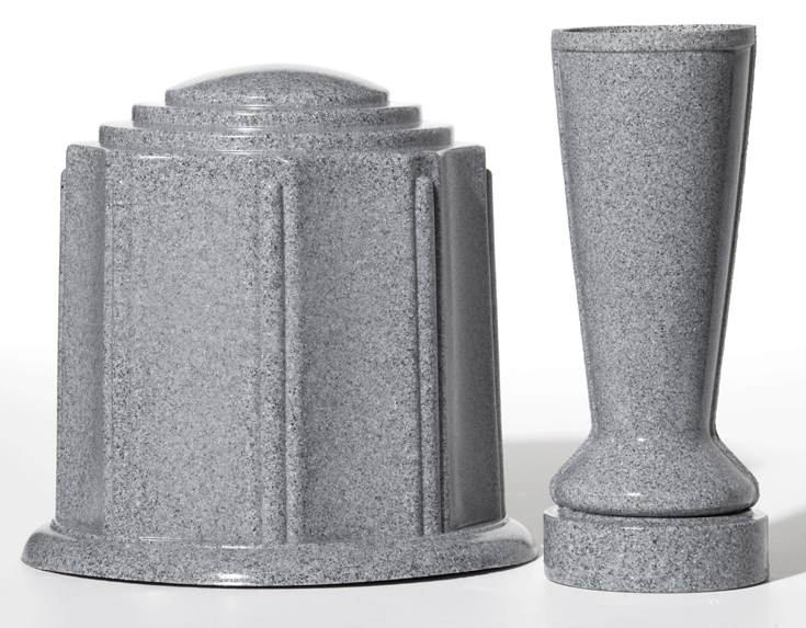 ForeverSafe™ Grey Granite Cremation Burial Urn and Cemetery Vase