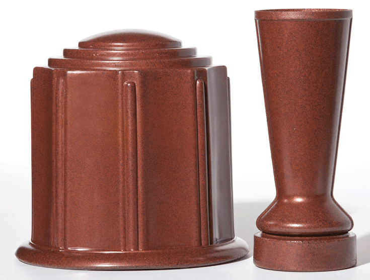 Terra Cotta Granite Urn & Vase Set